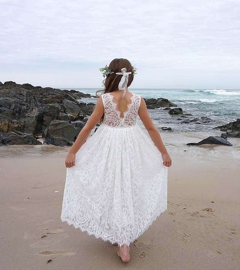 White Charlotte Lace Back Dress Thumb