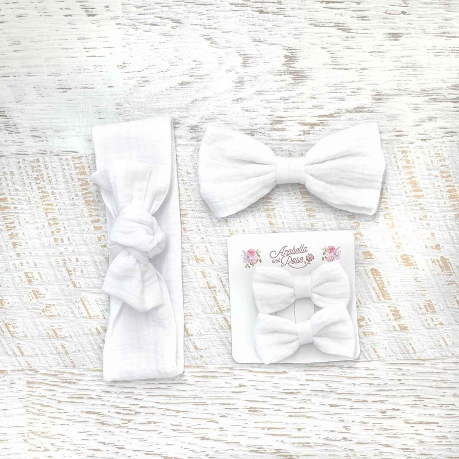 White Muslin Accessories - Head Wrap, Large Bow and Mini Bow Set