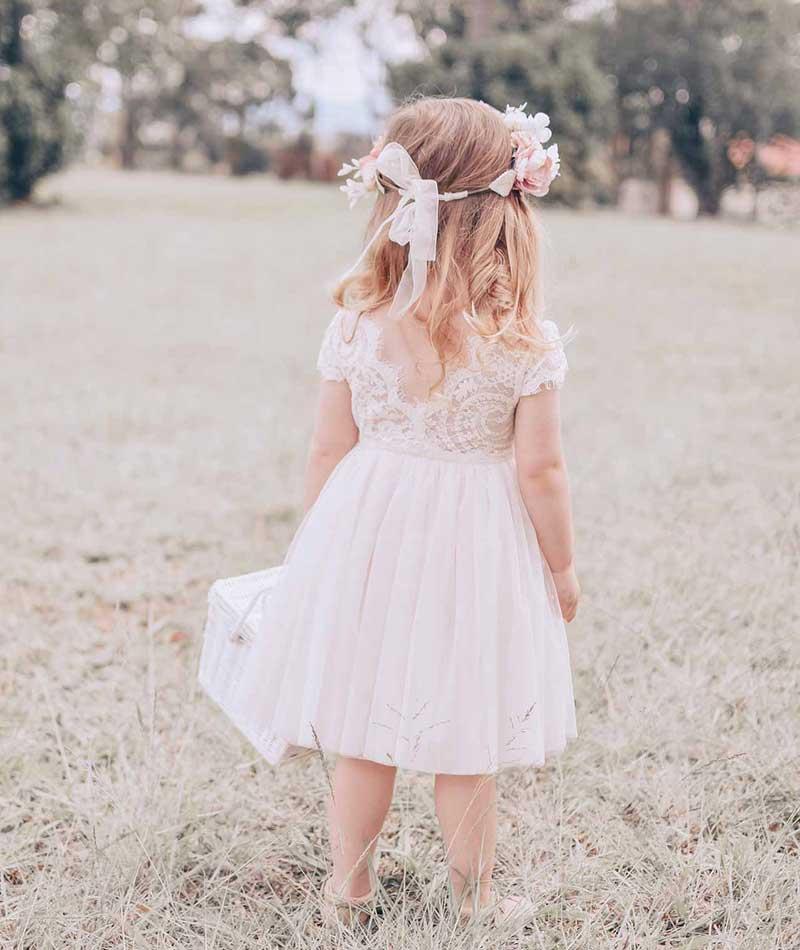 Cream Flora Capped Sleeve Lace Back Dress Thumb2