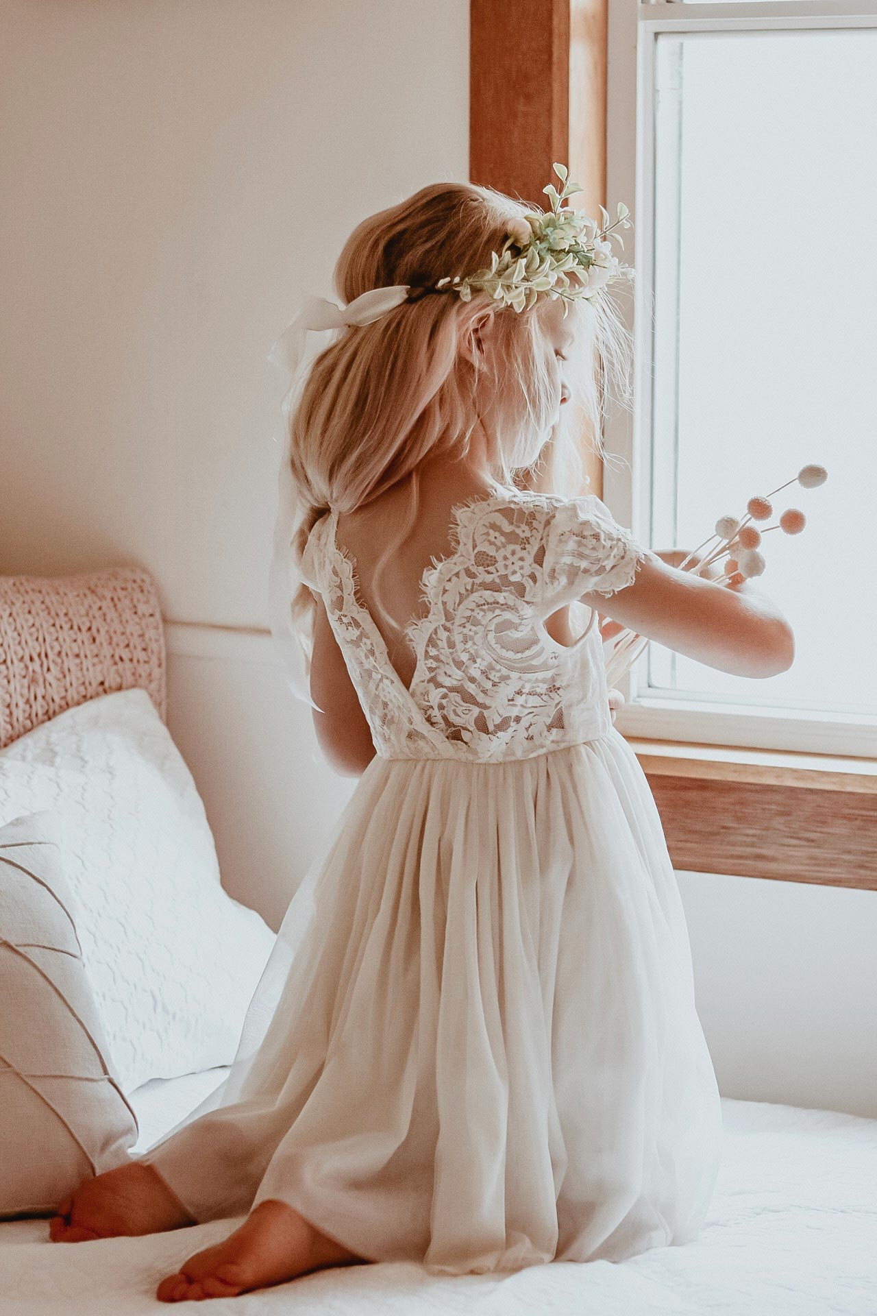 Cream Flora Capped Sleeve Lace Back Flower Girl Dress