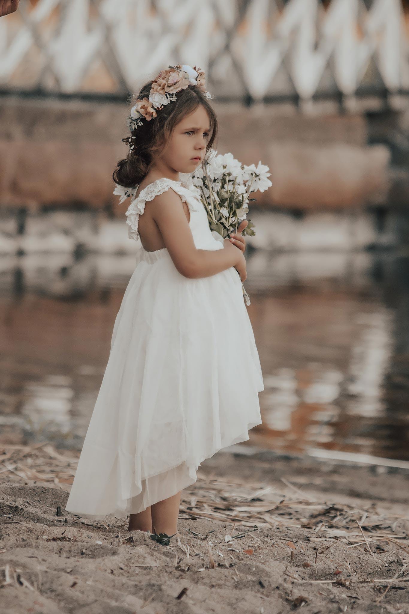 Girls Grace White Linen Tulle High Low Flower Girl Dress