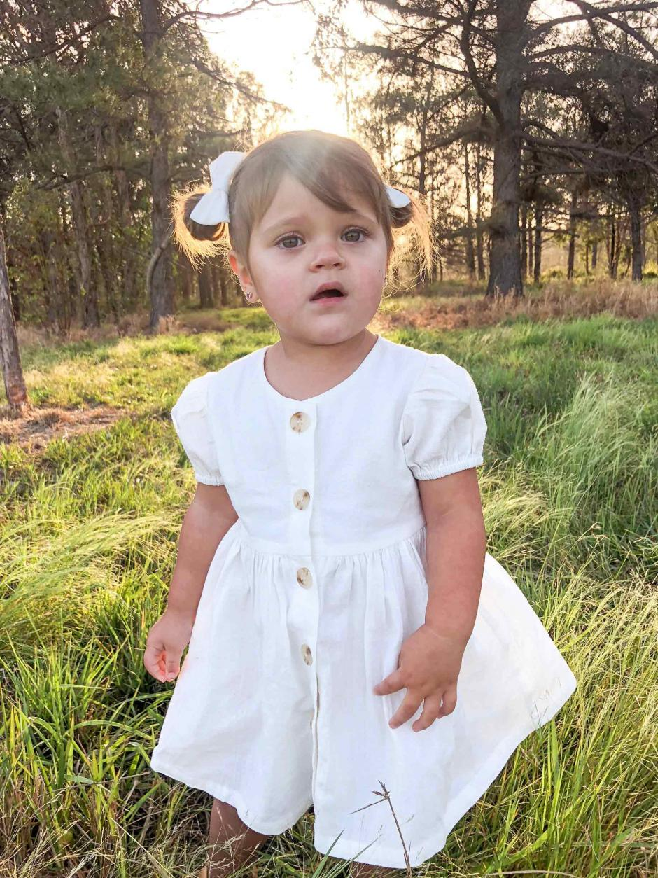 Alana Ivory Linen Puffed Sleeve Dress4