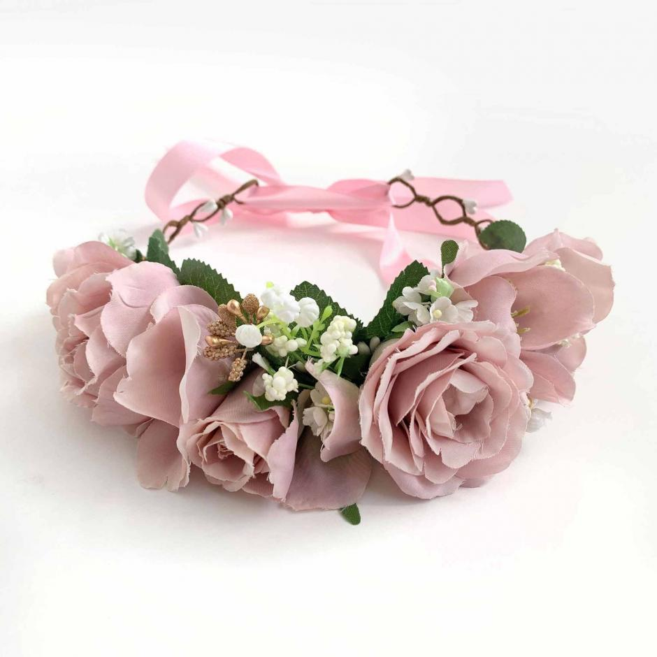 Eva Dusty Rose Flower Crown1