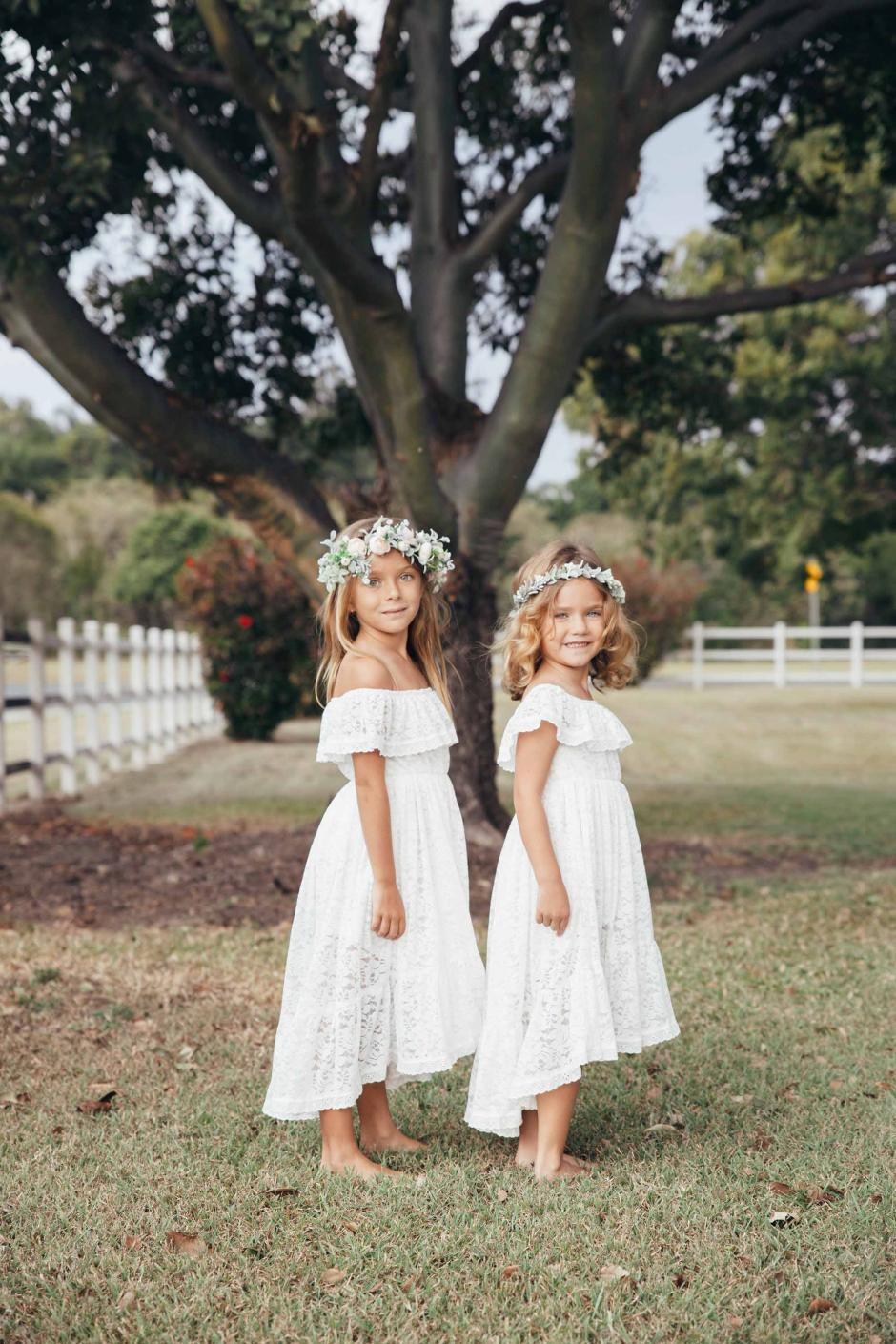 Girls Delphine White Lace Off The Shoulder Dress