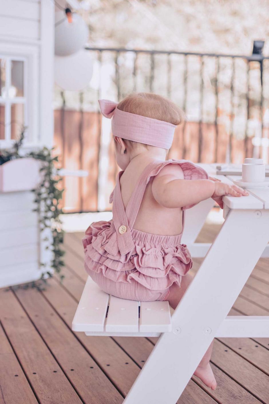 Layla Dusty Pink Muslin Ruffle Romper