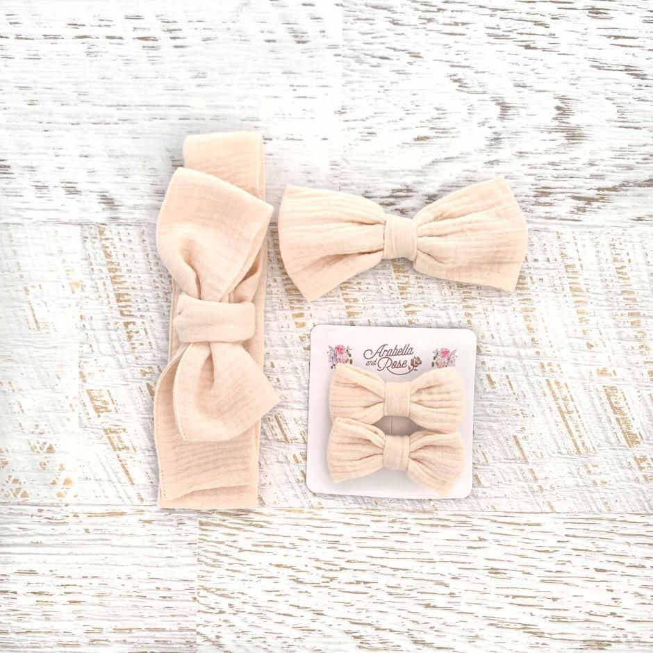 Girls Peaches And Cream Muslin Accessories