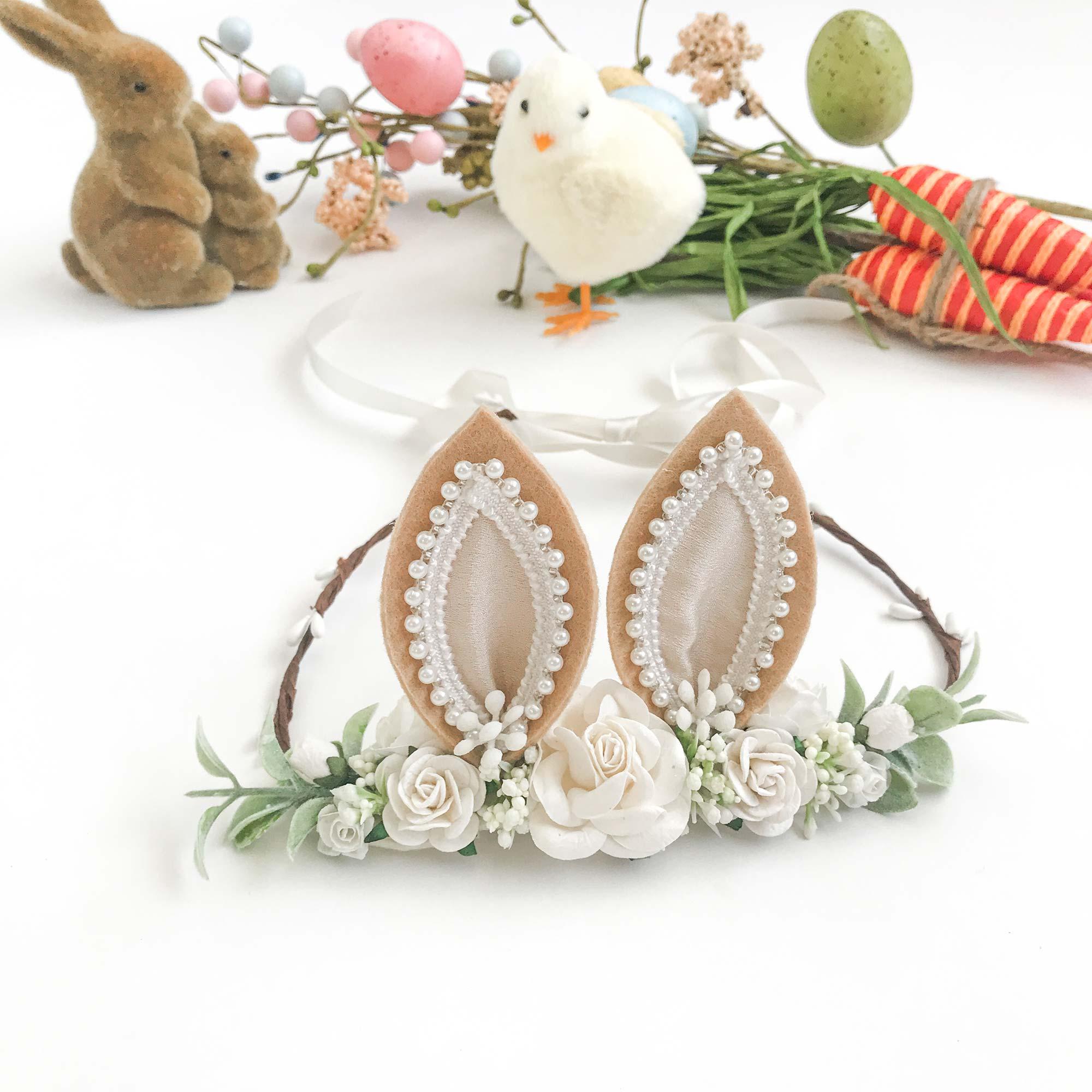 Cream Pearl Bunny Ears Garland