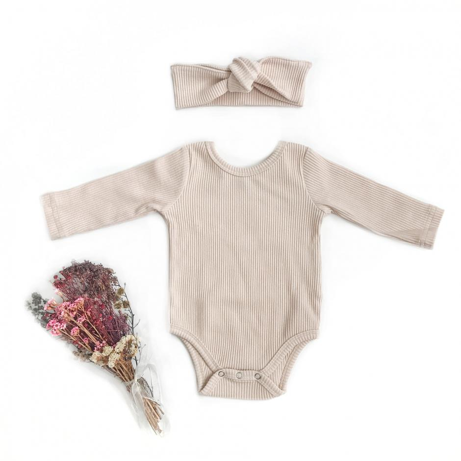 Flatlay Kiki Cream Ribbed Bodysuit Front