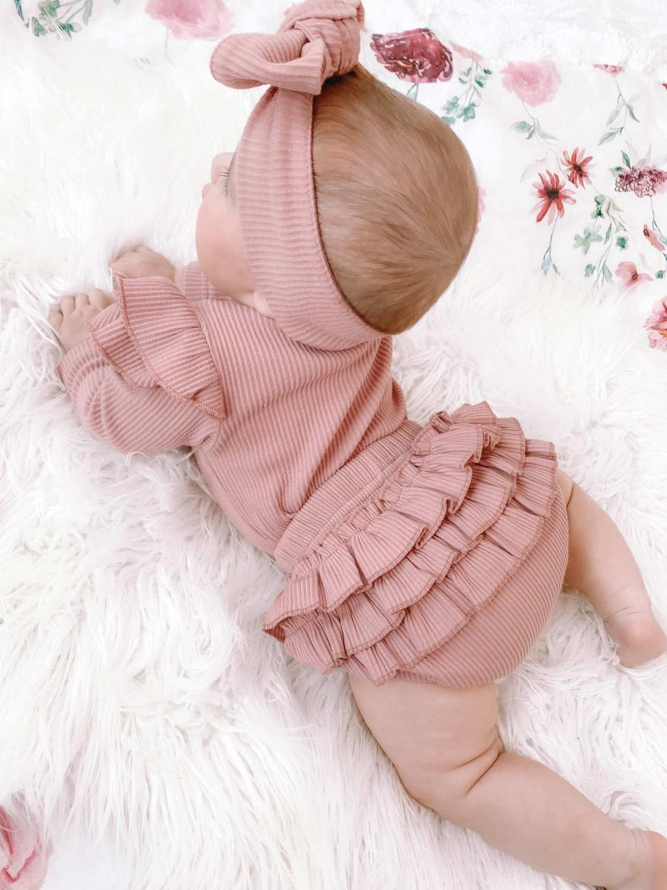 Dusty Pink Poppy Bodysuit Havent Ribbed Bloomers