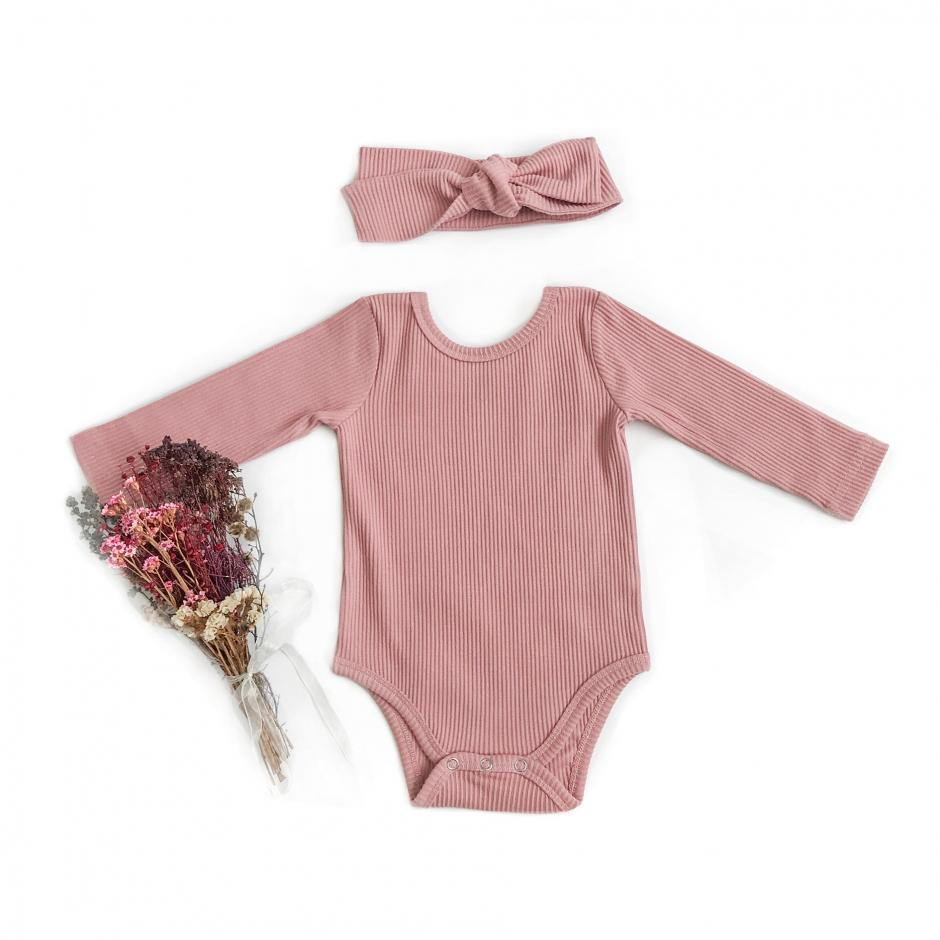 Flatlay Kiki Dusty Pink Ribbed Bodysuit Front