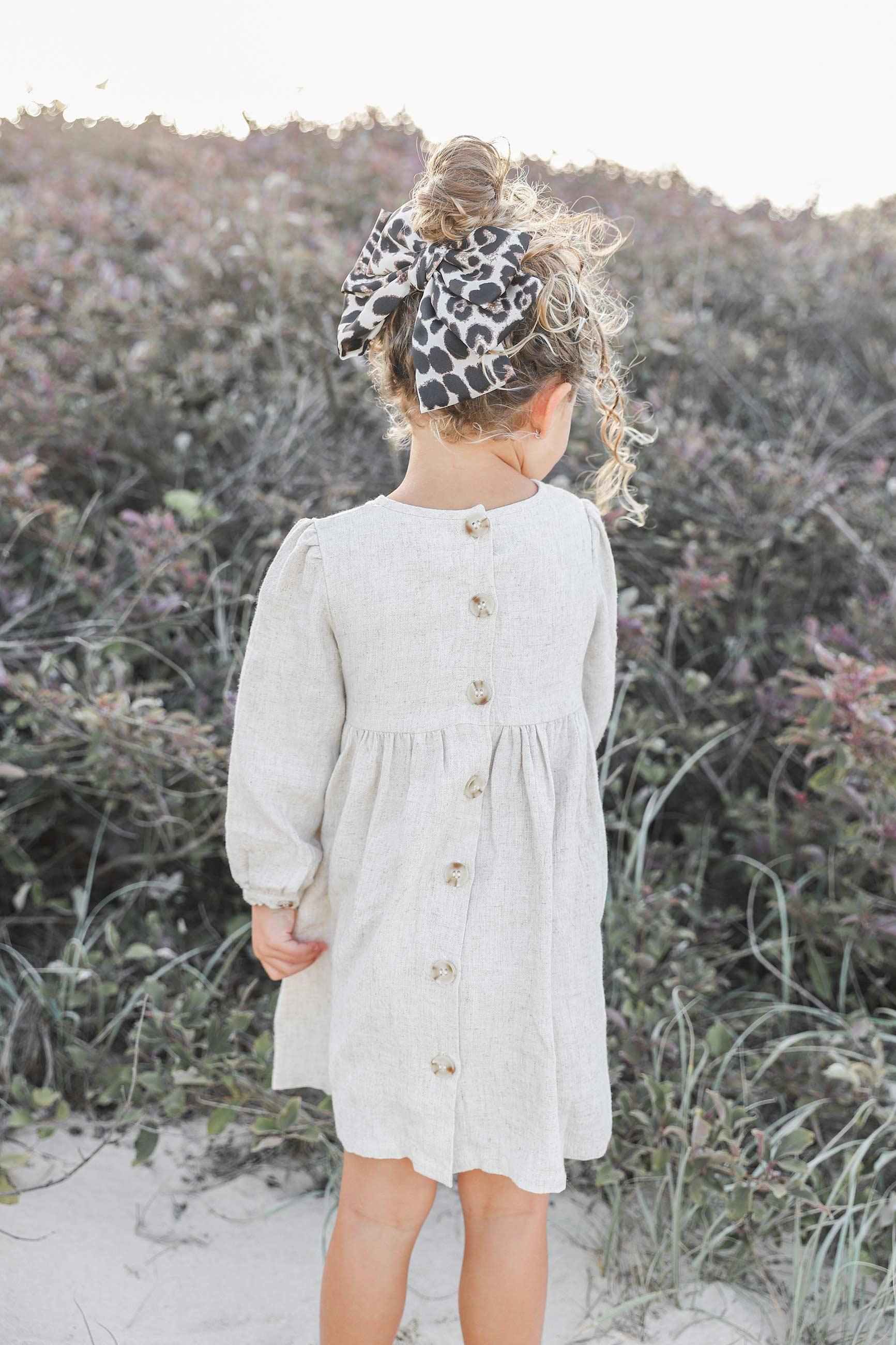 Molly Beige Linen Dress Raven Large Leopard Bow3