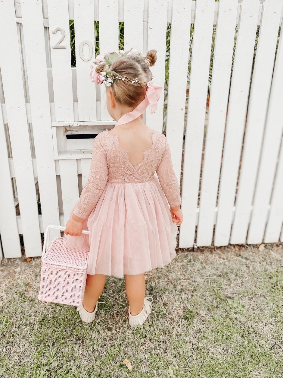 Girls Clara Dusty Rose Lace Back Flower Girl Dress