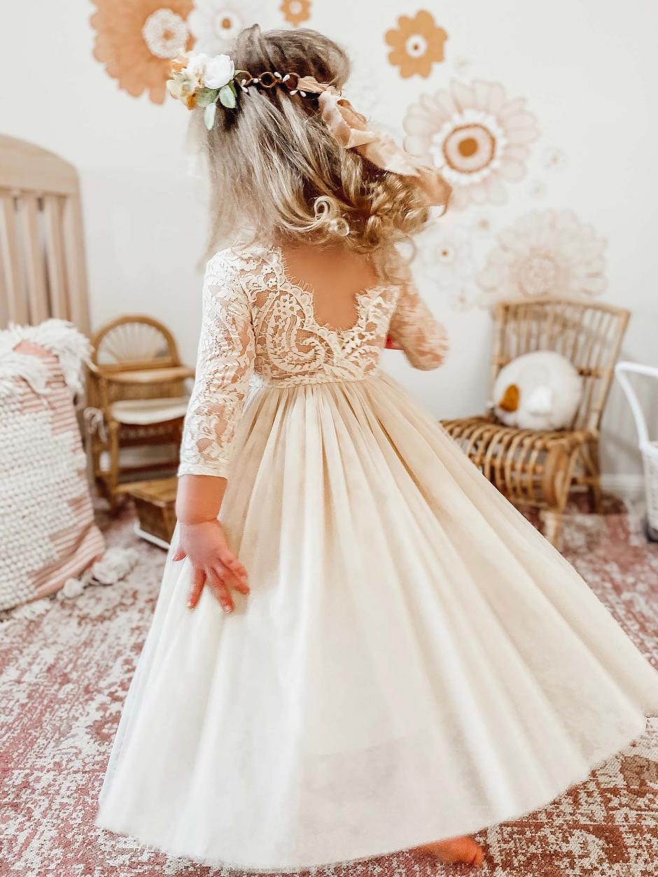 Cream Swan Lace Back Flower Girl Dress