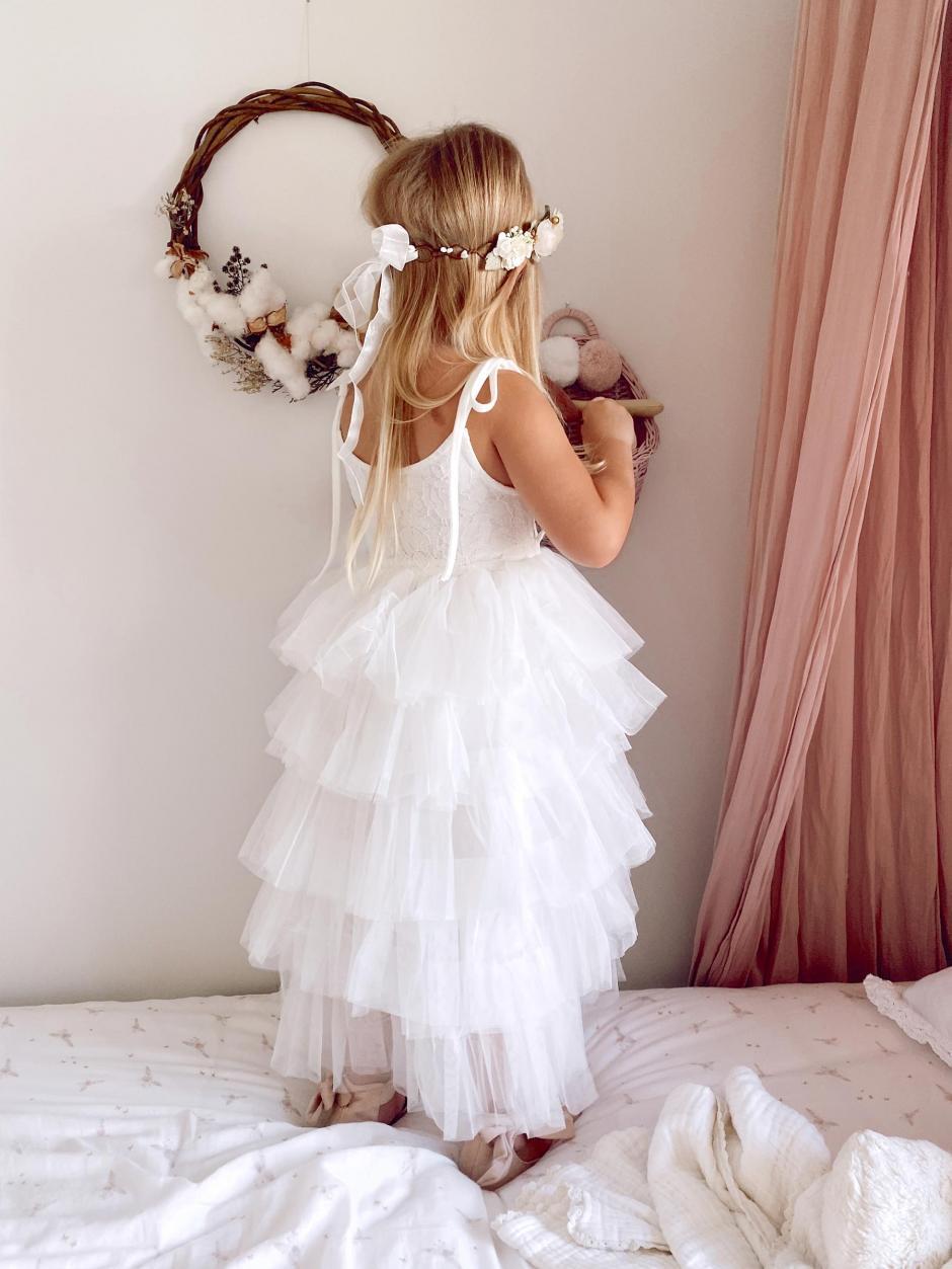 Elouisa White Mid Length Tutu Flower Girl Dress