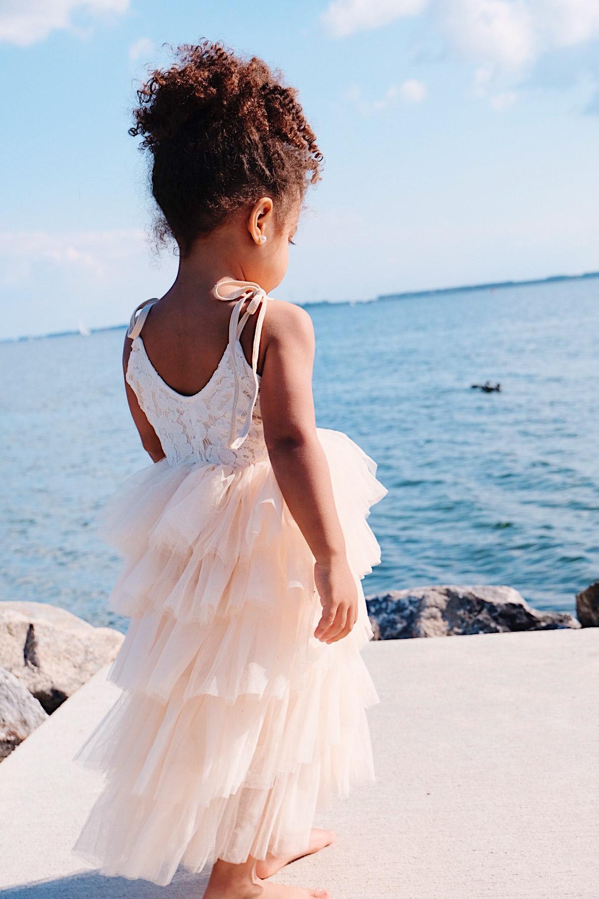 Alina Champagne Tutu Flower Girl Dress