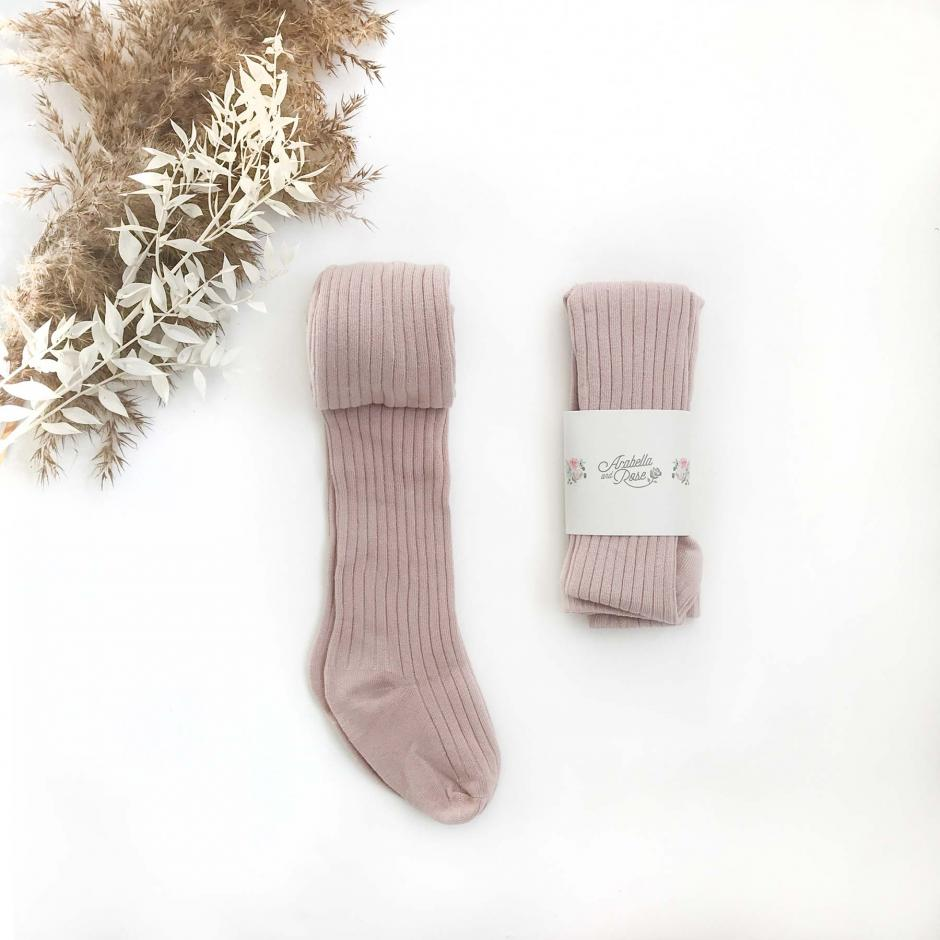 Dusty Rose Ribbed Tights2