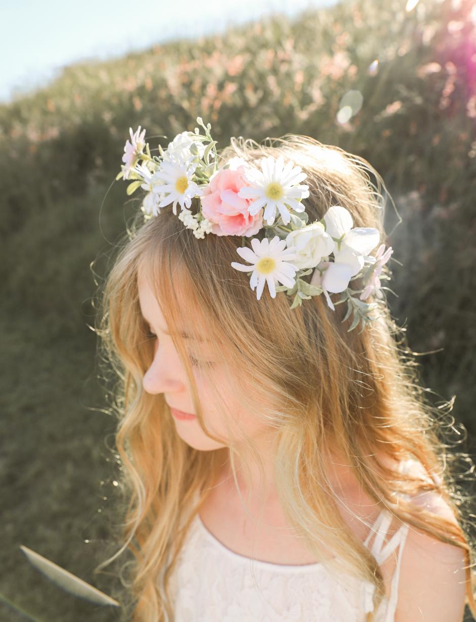 Girls Aubrielle Flower Crown and Flower Girl Dress