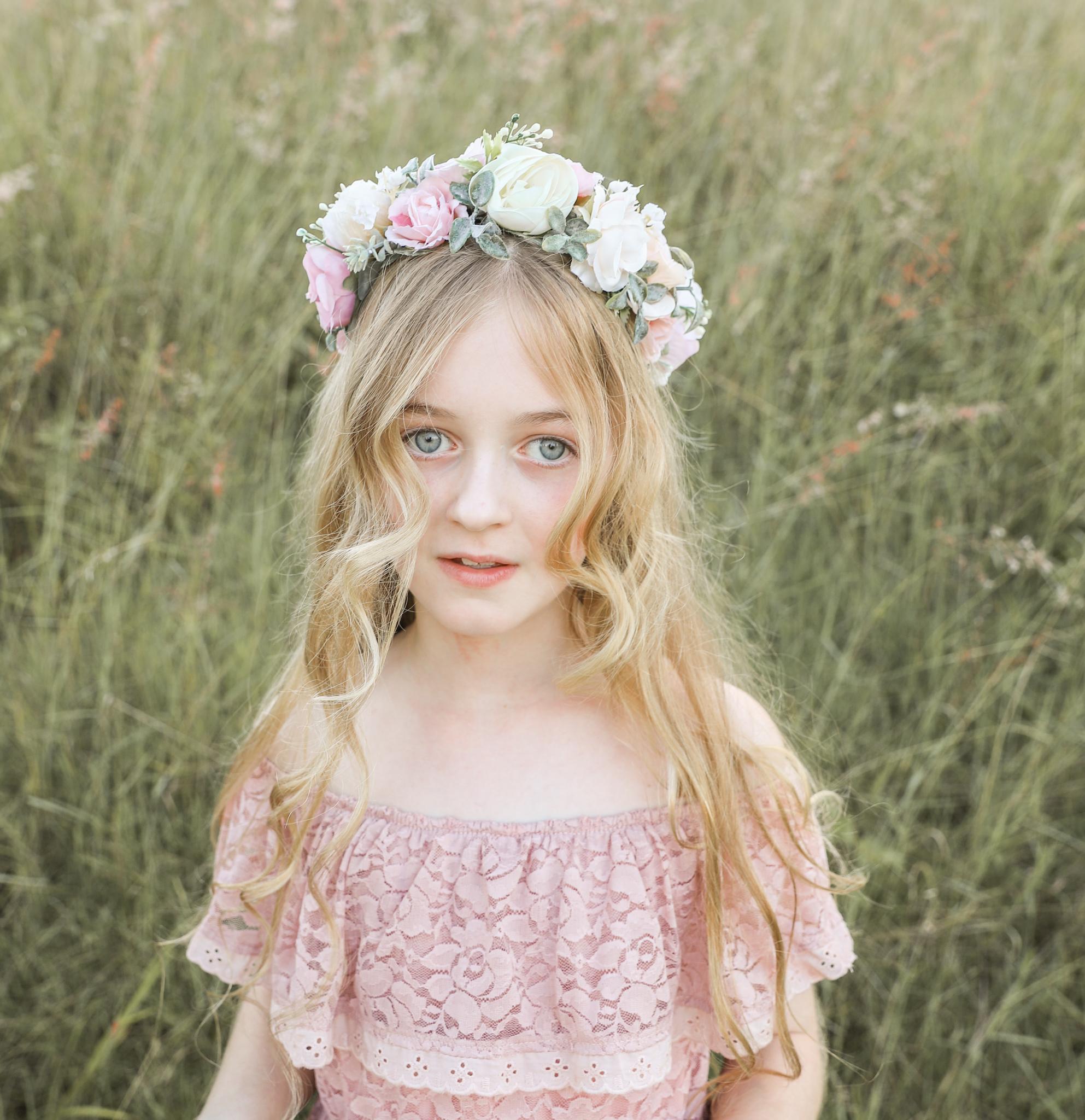 Girls Adeline Pink Rose Flower Crown And Flower Girl Dress