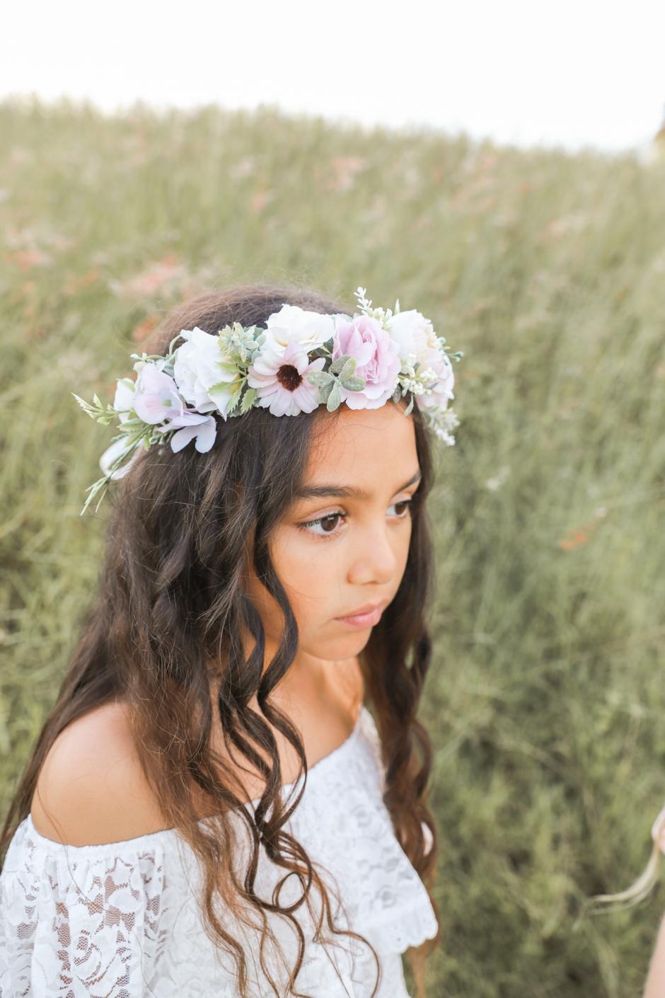 Girls Scarlett Mauve Flower Crown And Flower Girl Dress