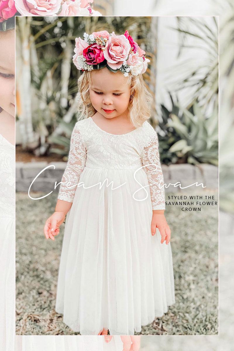 Cream Swan Dress