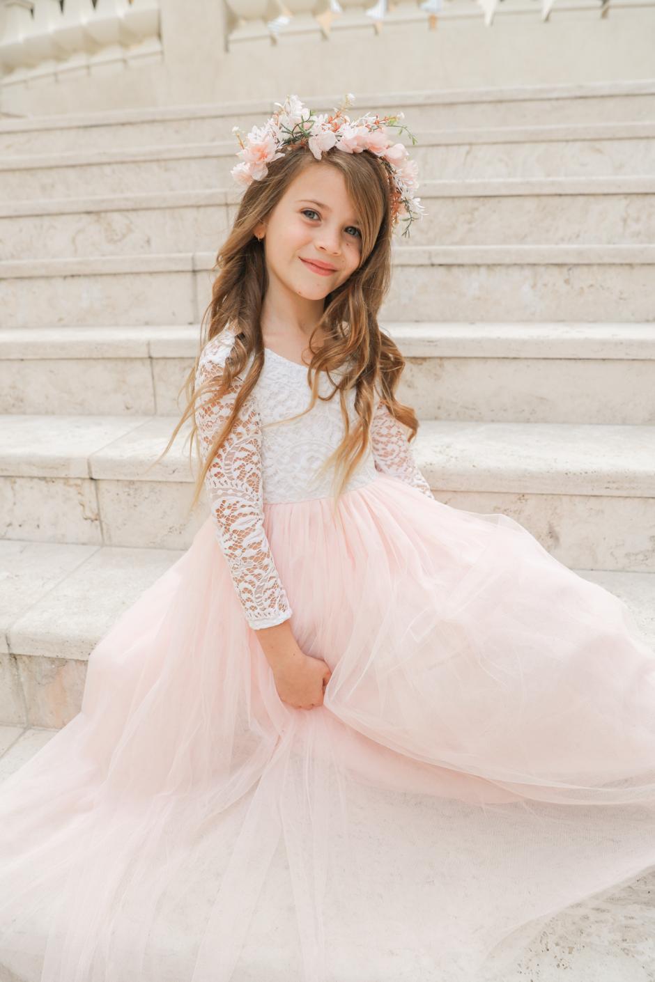 Girls Light Peach Swan Lace Back Dress Elodie Flower Crown