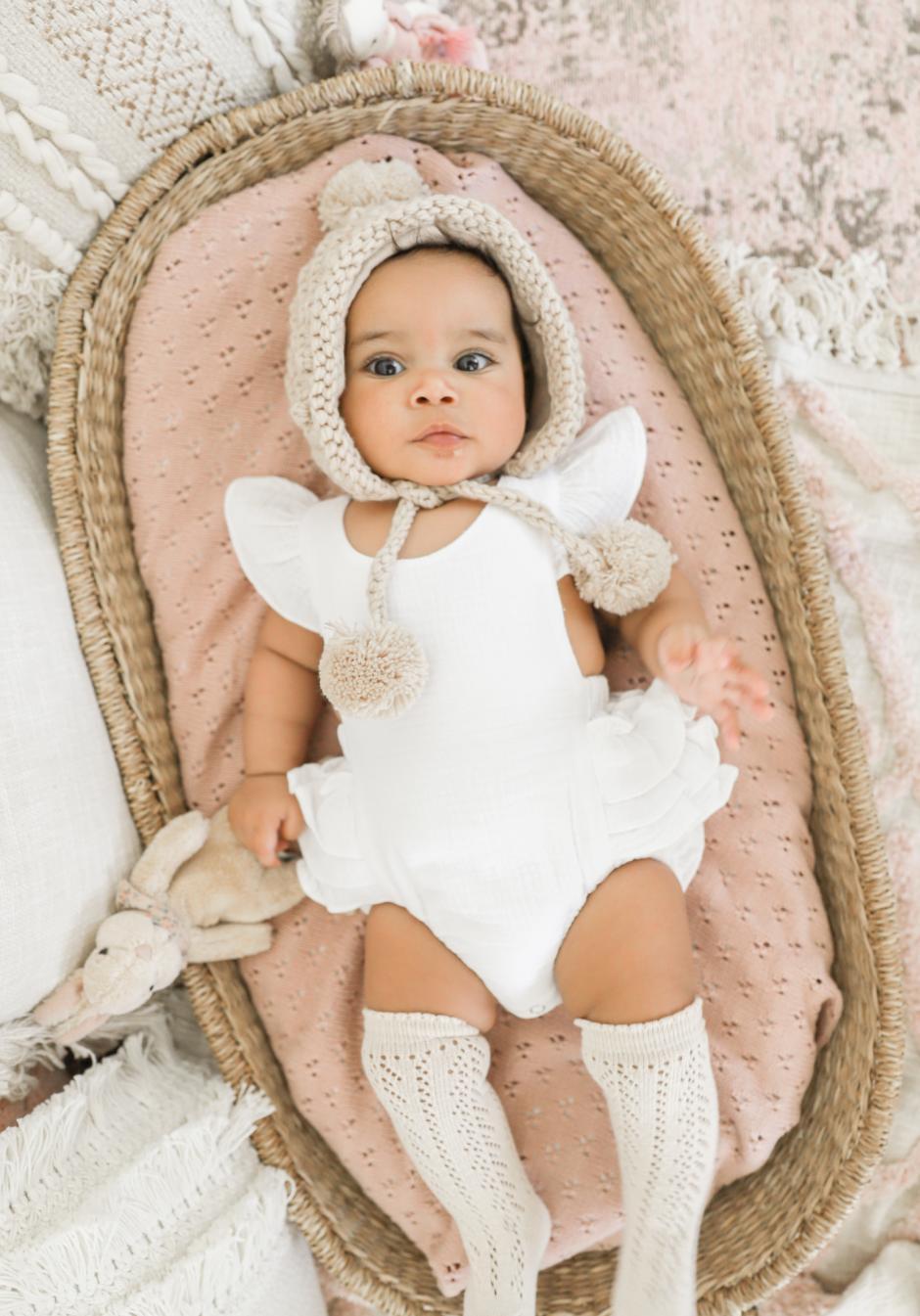 Baby Girls Layla White Muslin Ruffle Romper Fawn Pom Pom Beanie Socks