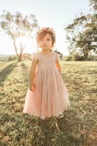 Dusty Rose Magnolia Capped Sleeve Lace Back Dress
