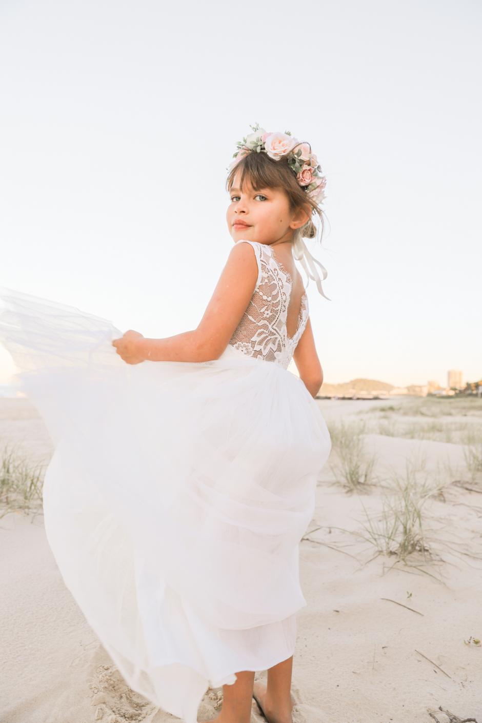 French Isabel White Lace Back Dress