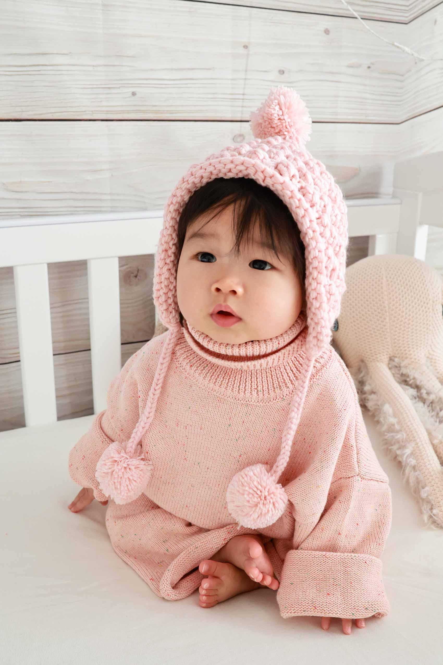 Confetti Knit Jumper Pant Peach Sorbet Cupid Beanie Dusty Pink