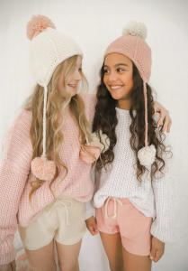 Elke Knit Jumper Confetti White Pink Winter Pom Pom Beanie