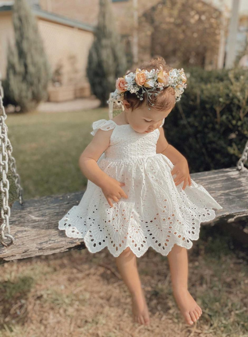 Clementine White Broderie Anglaise Dress Cordelia Flower Crown