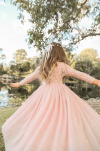 Dusty Rose Swan Lace Back Dress