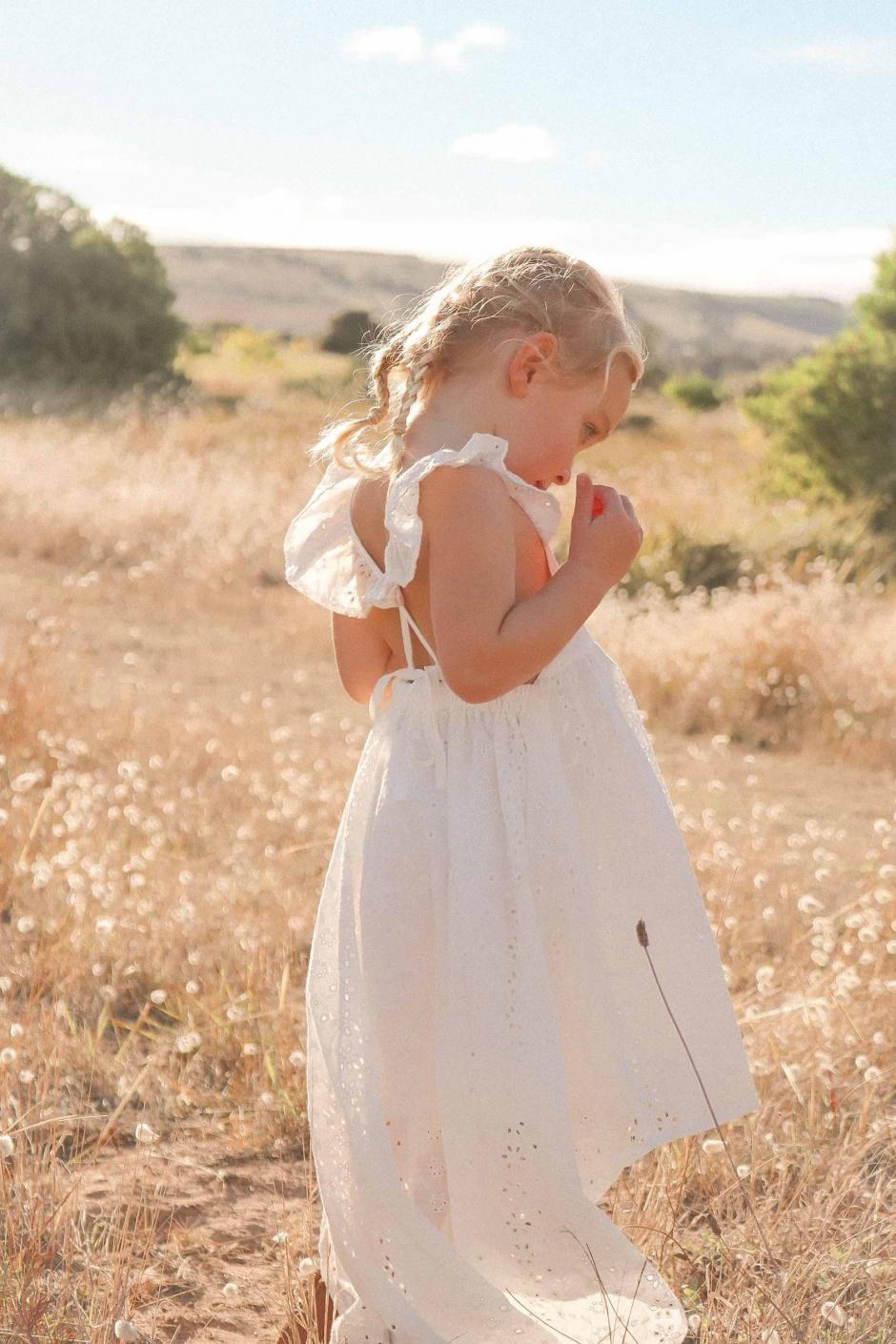 Florence White Broderie Anglaise High Low Dress