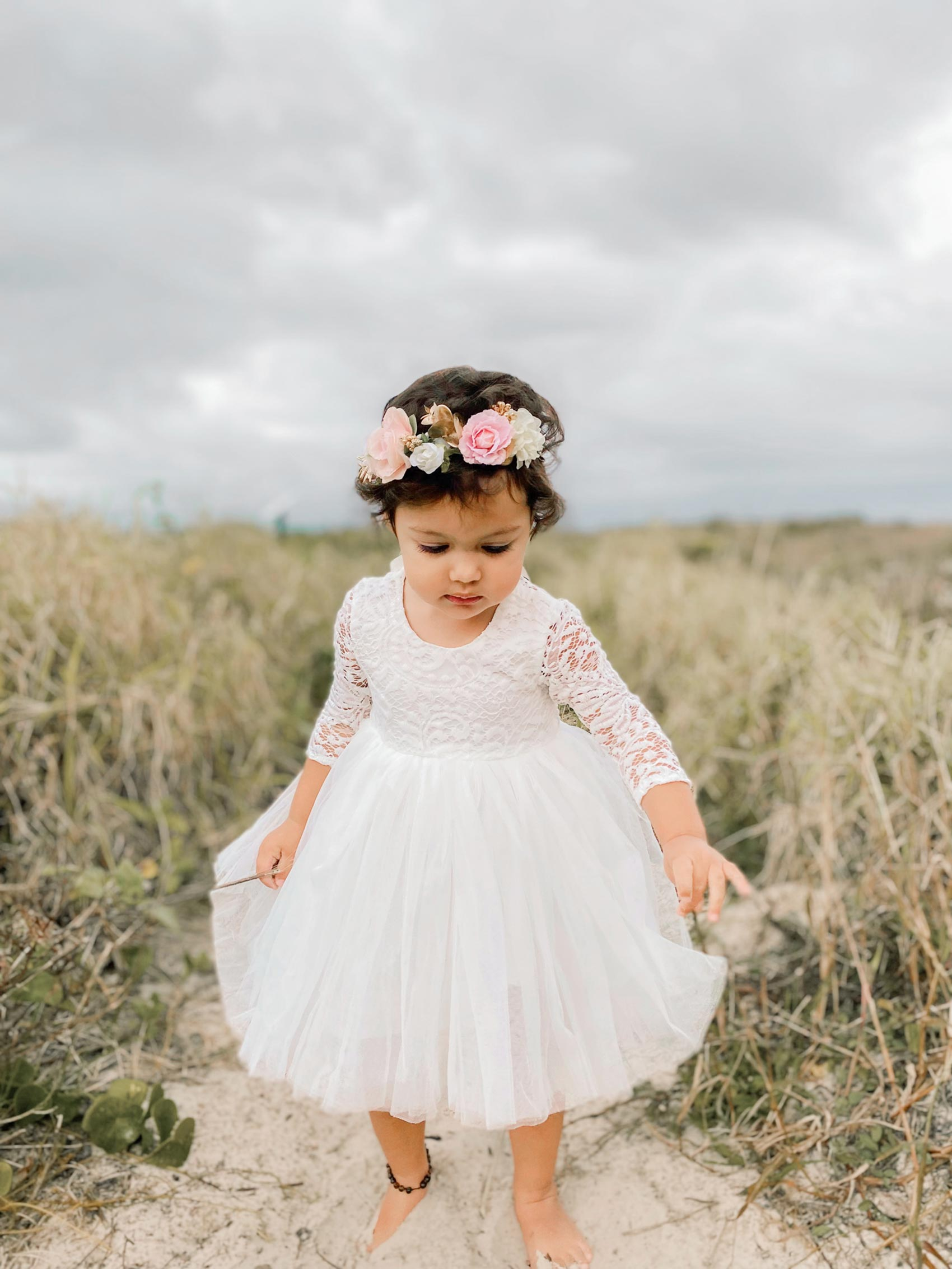 Giselle White Lace Back Dress Mae Flower Crown