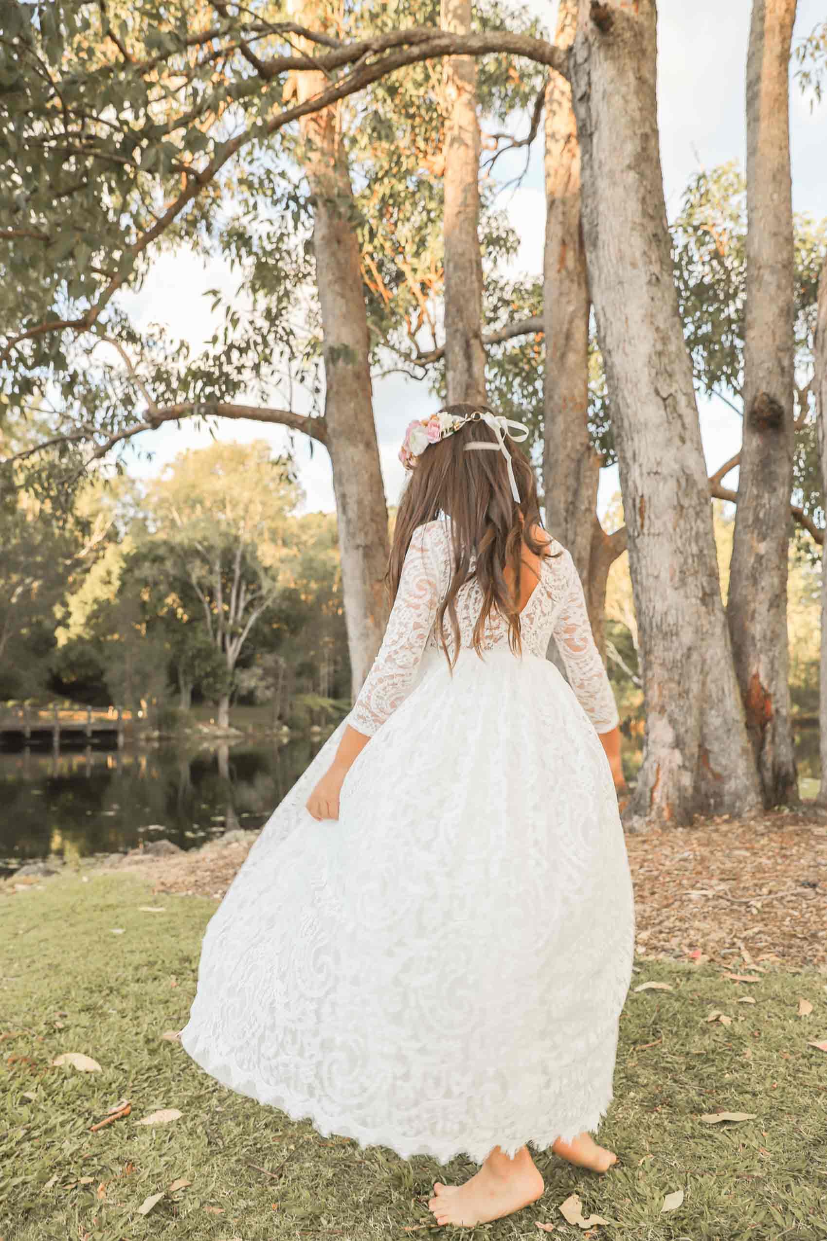 White Helena Long Sleeve Lace Back Dress