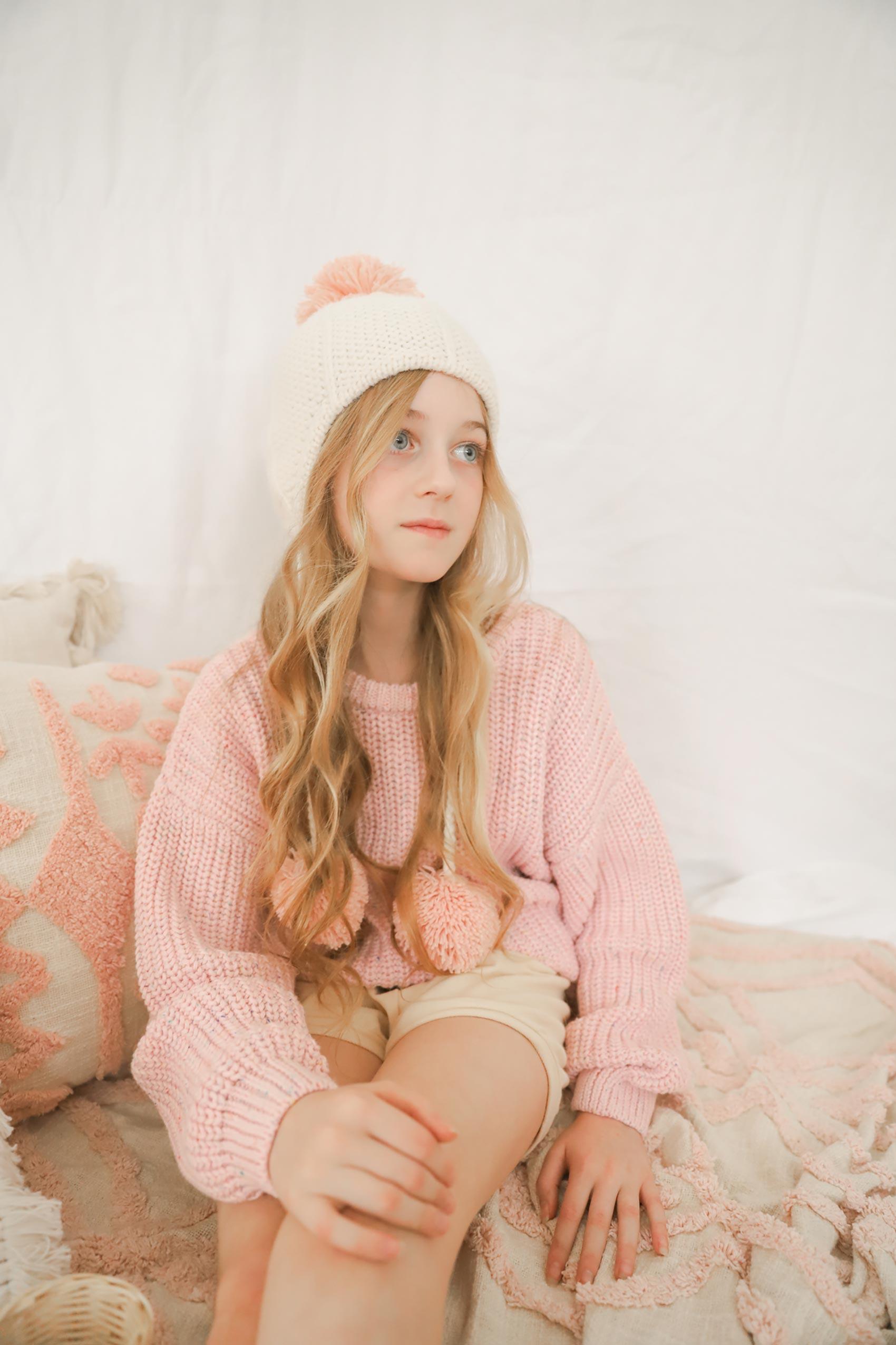 Elke Knit Jumper Confetti Pink Winter Pom Pom Beanie