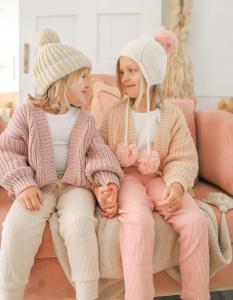 Caggie Knit Cardigan Beige Pink Dusty Rose Beanies