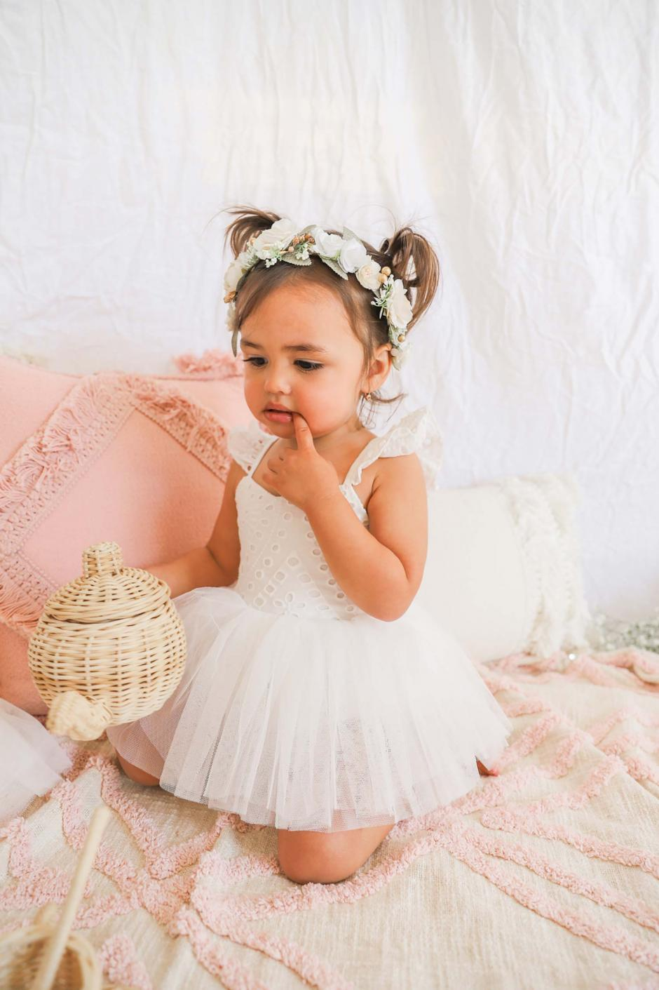 Trixie Belle White Broderie Anglaise Tutu Romper