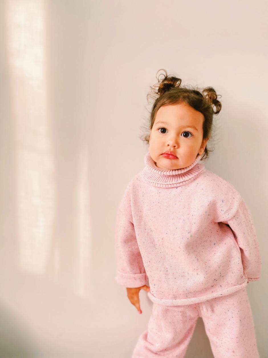 Confetti Knit Jumper Pant Pink Sundae