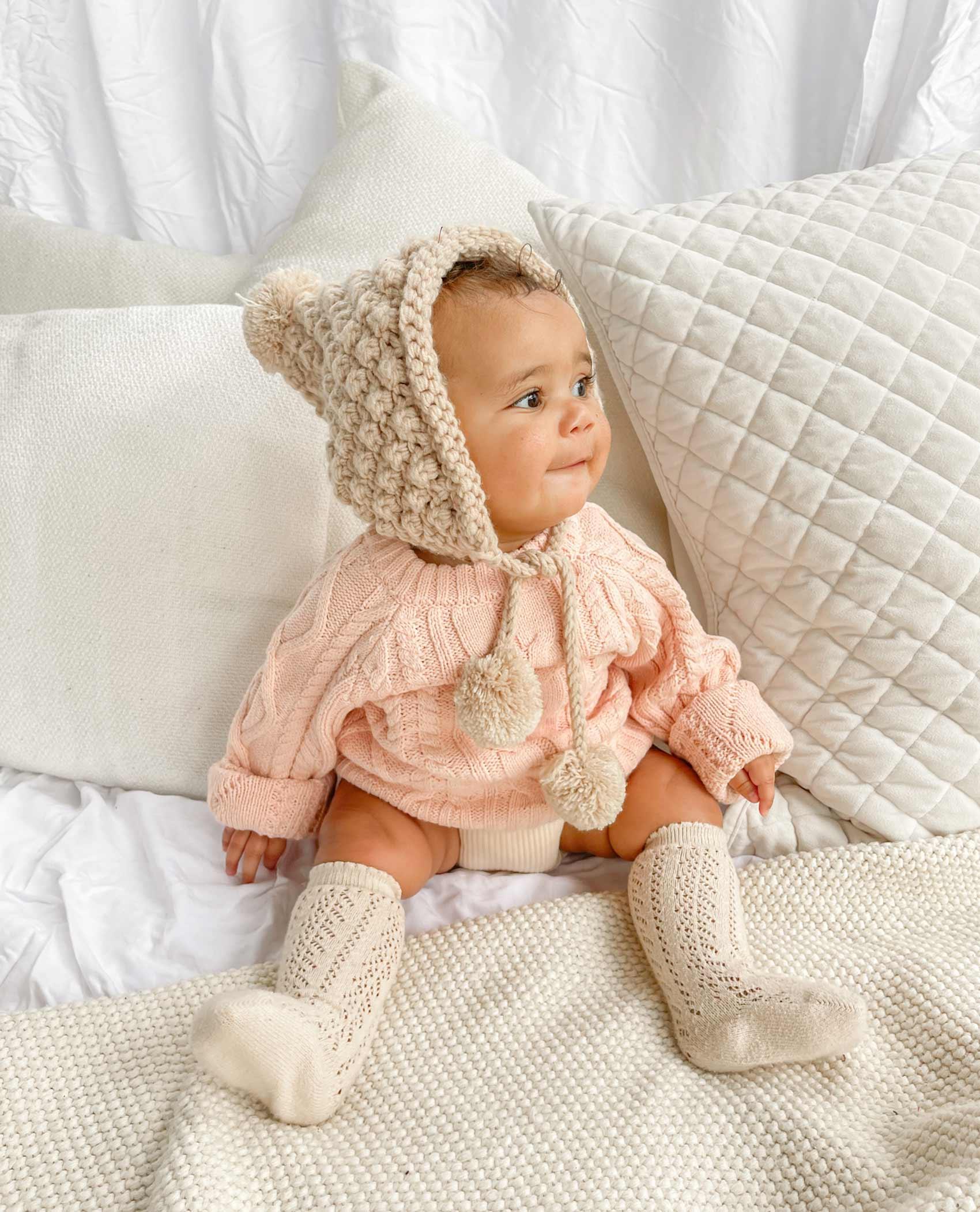 Lilou Knit Jumper Peaches Cupid Fawn Beanie