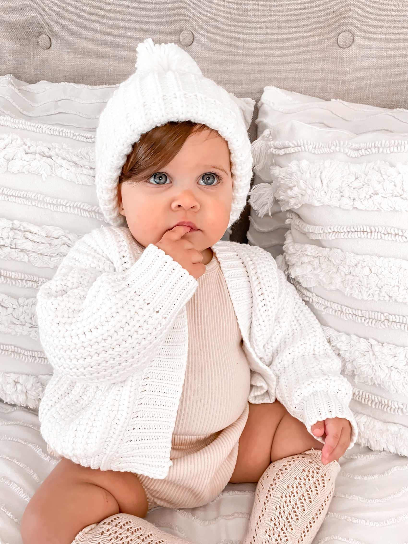 Caggie Knit Cardigan Milk Cosy Beanie Ivory