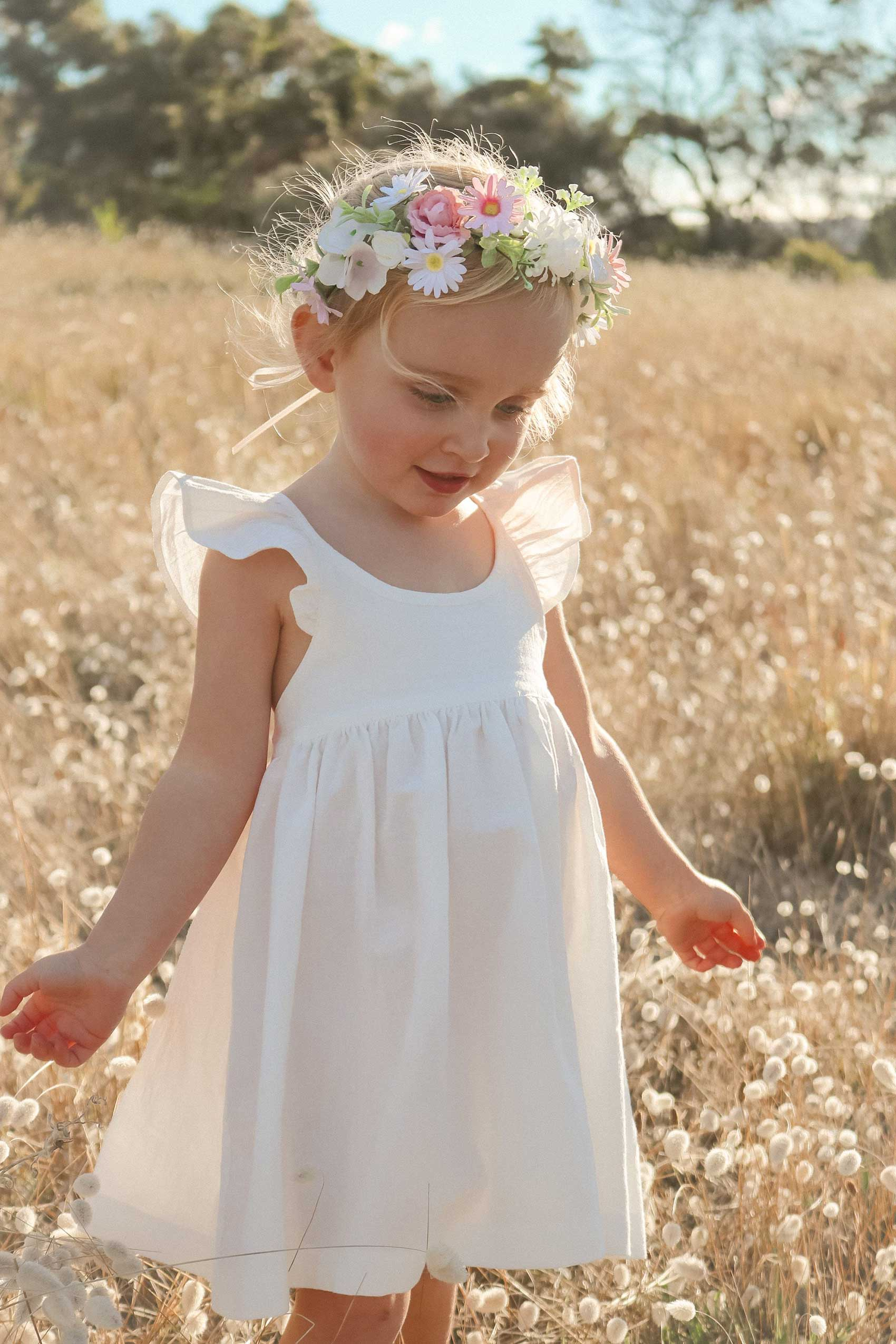 Valerie Ivory Linen Ruffle Dress Aubrielle Flower Crown