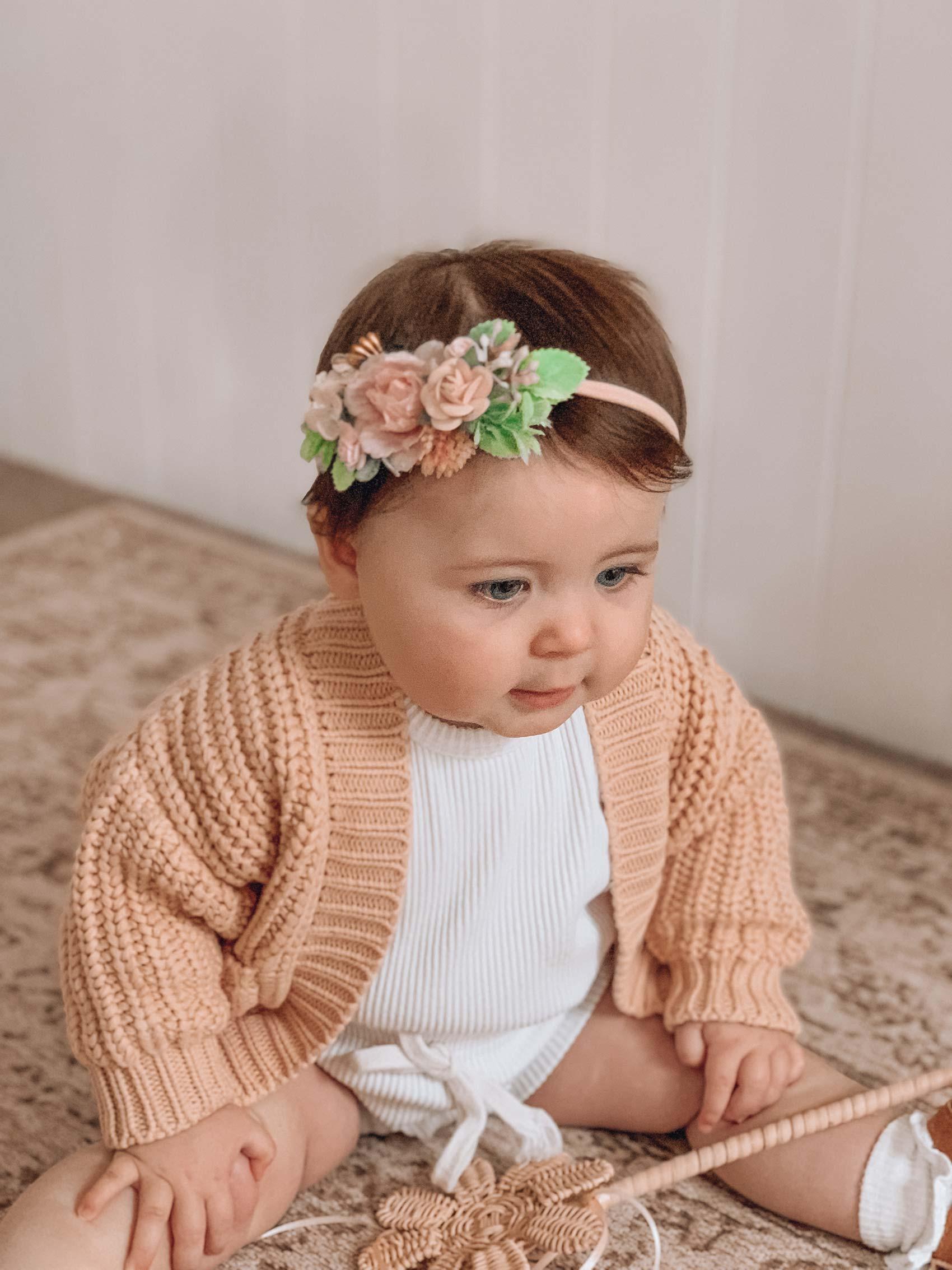 Caggie Knit Cardigan Oatmeal Cora Floral Stretch Headband