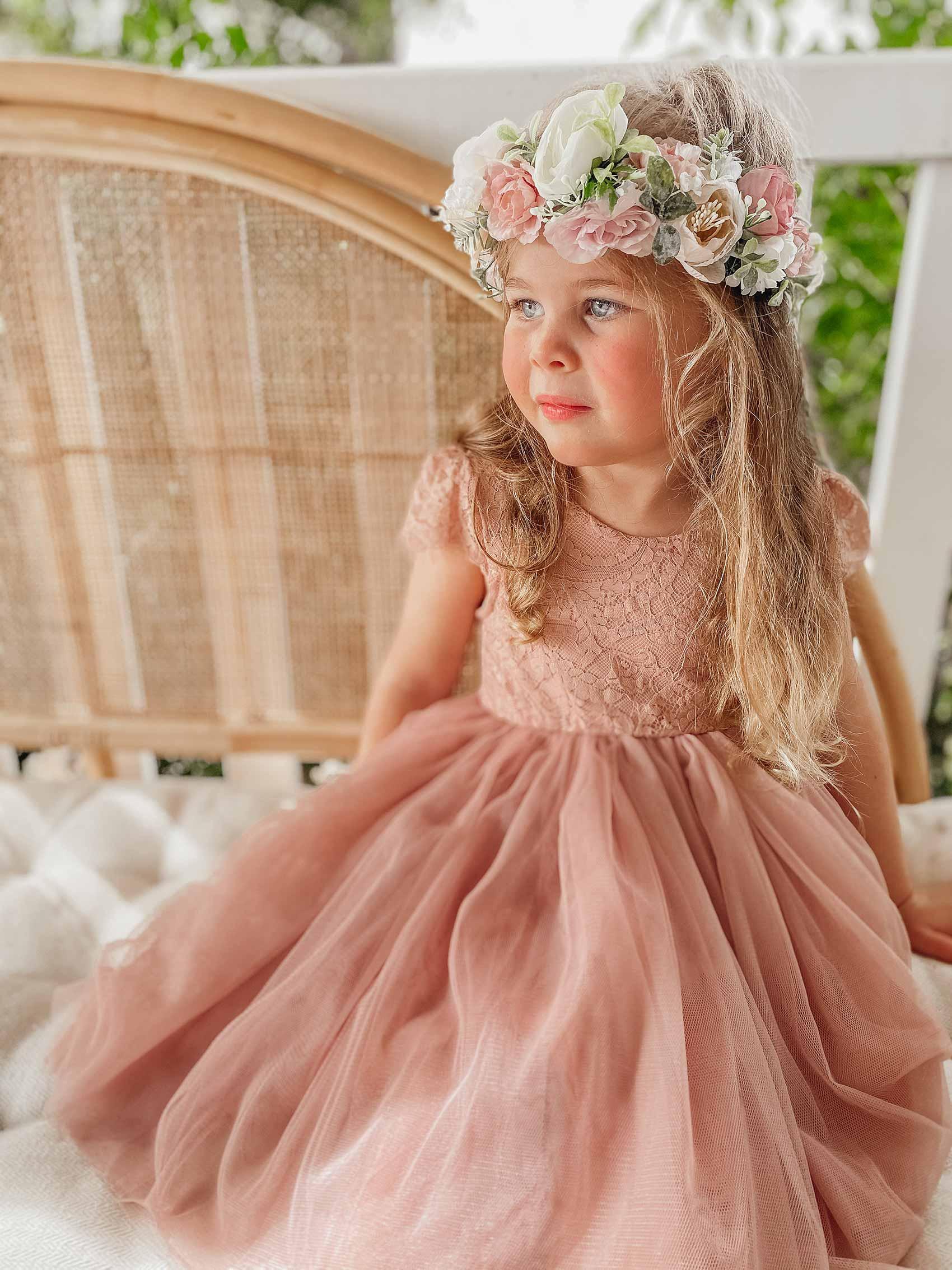 Dusty Rose Flora Capped Sleeve Lace Back Dress Adeline Flower Crown