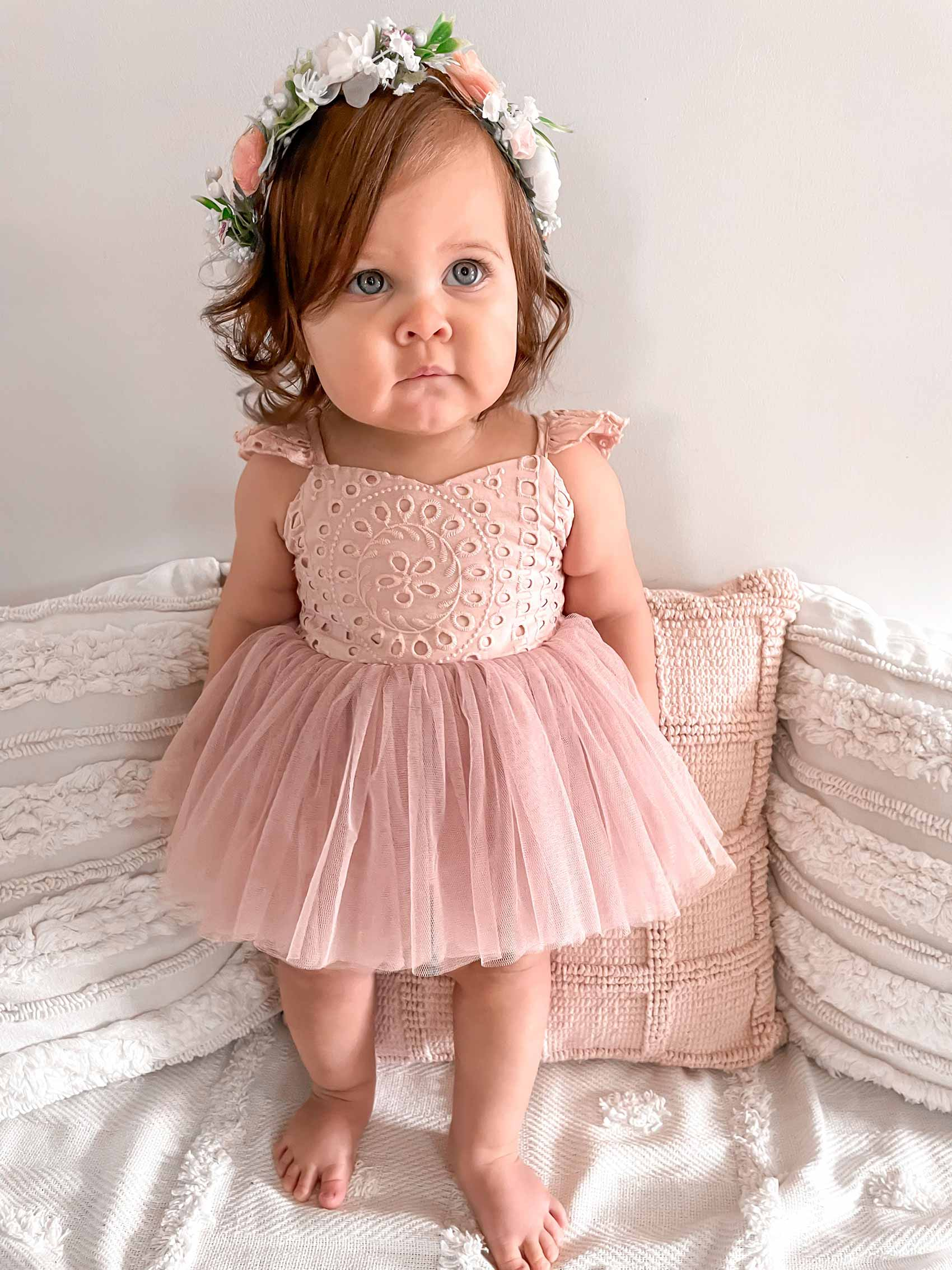 Trixie Belle Dusty Rose Broderie Anglaise Tutu Romper
