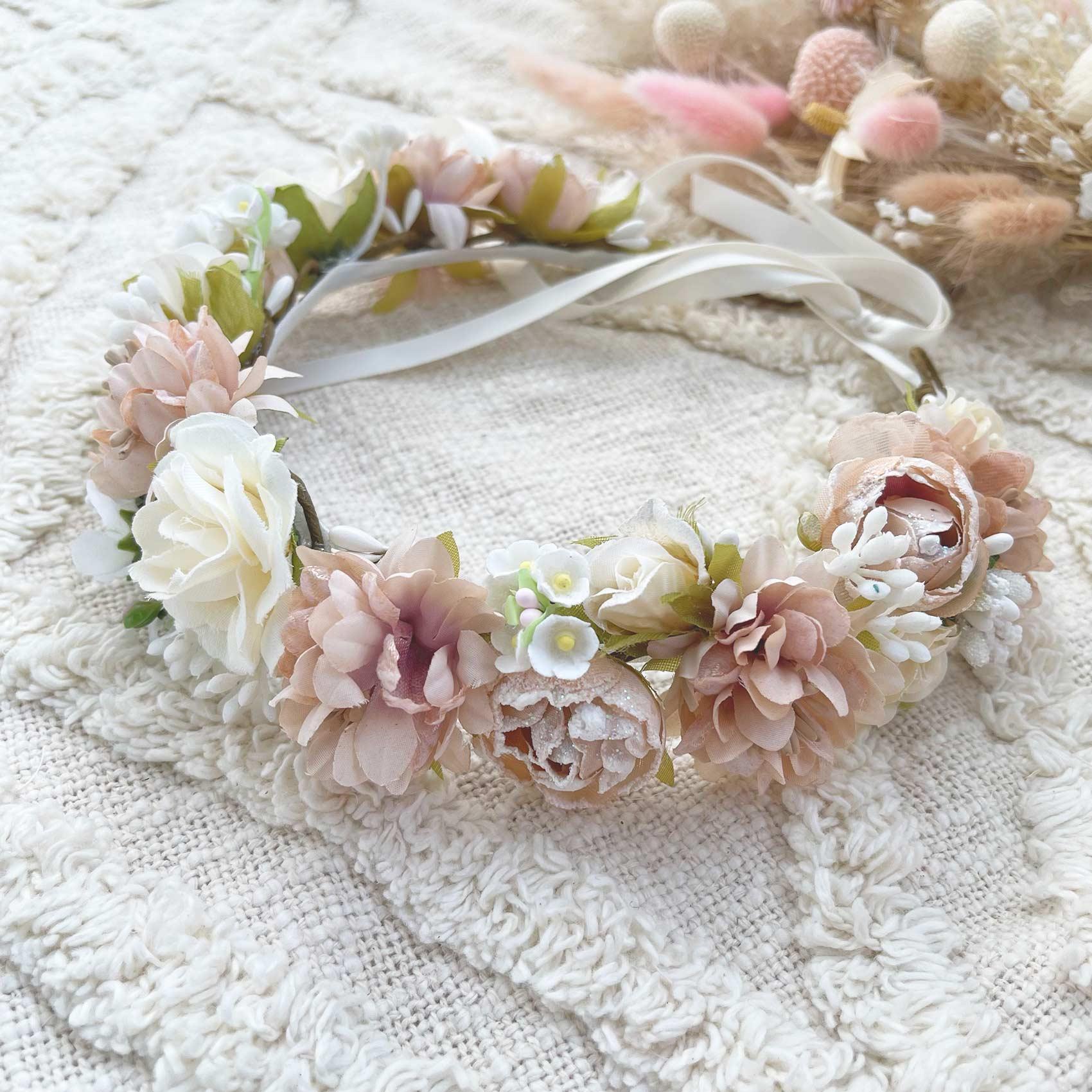 Margot Mocha Pink Flower Crown