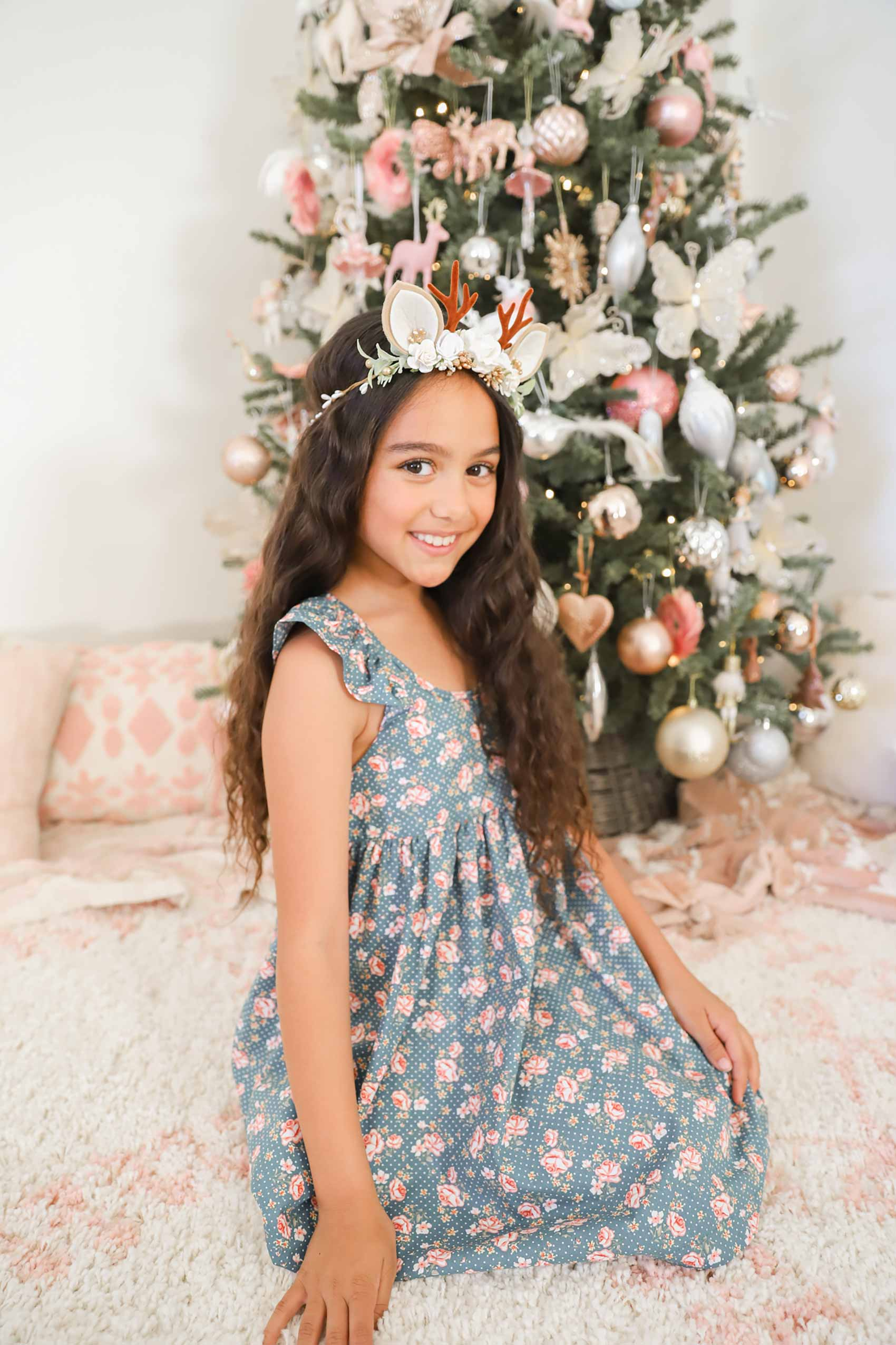 Christmas Angel Cream Garland Forest Rose Dress
