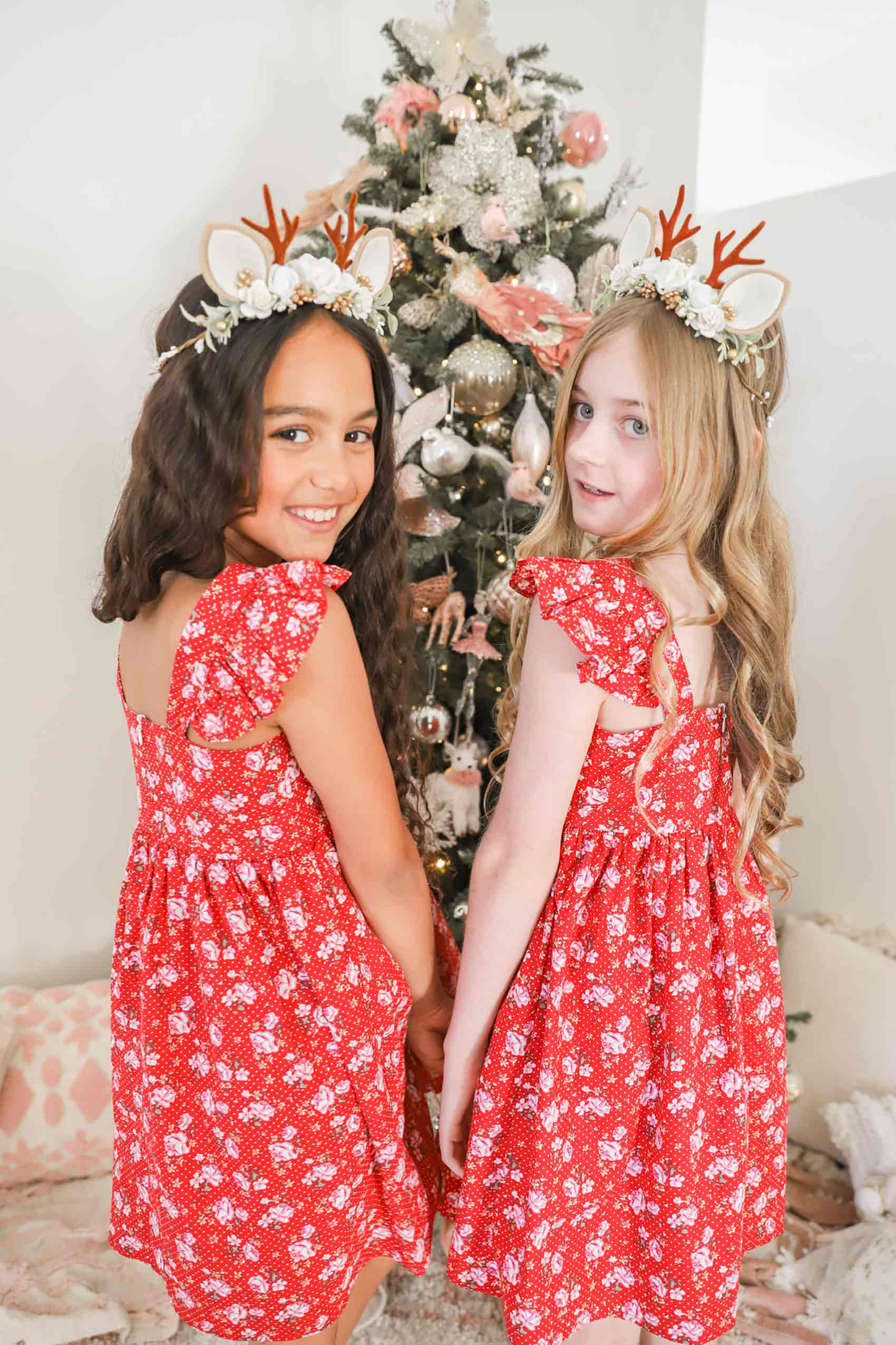 Christmas Belle Dress Angel Cream Reindeer Garland