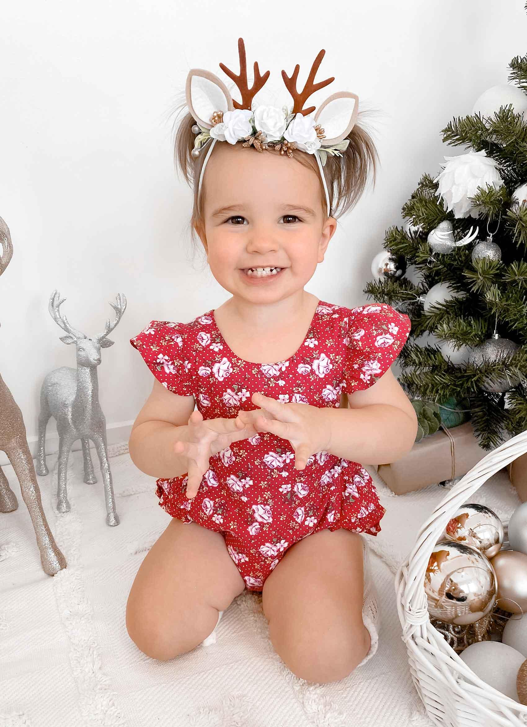 Christmas Belle Romper Angel Reindeer Ears