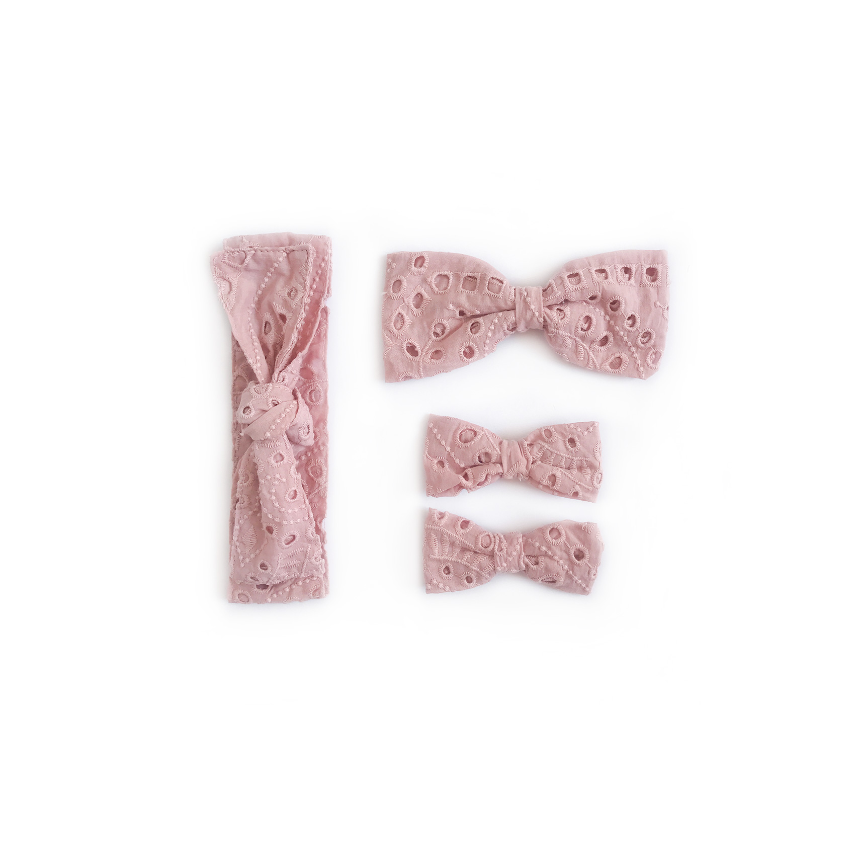 Dusty Rose Broderie Anglaise Accessories